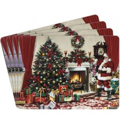 A set of 4 Classic Christmas Scene Santa Placemats