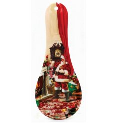 A Santa Christmas Scene Spoon Rest