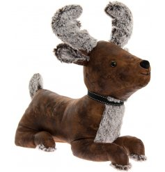 Bring a woodland charm to your living spaces with this sweet sitting faux leather stag doorstop