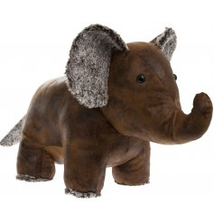 An adorable standing elephant doorstop, set in a faux leather look