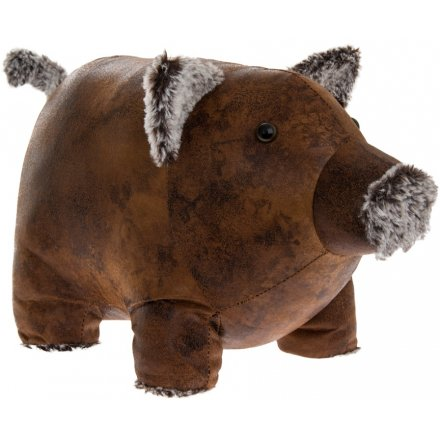 Piggy Faux Leather Doorstop