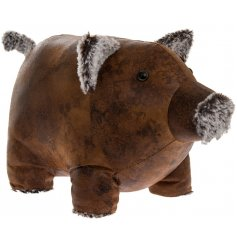 An adorable standing pig doorstop, set in a faux leather look