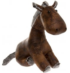 An adorable sitting donkey doorstop, set in a faux leather look