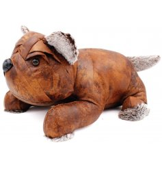 An adorable lying bulldog doorstop, set in a faux leather look