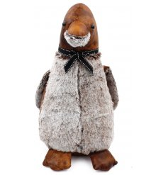 Bring a rustic charm look to your home spaces with this adorable faux leather penguin doorstop