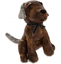 Bring a vintage and distressed inspired feel to any space of the home with this faux leather dog doorstop