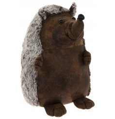 Bring a woodland charm to your living spaces with this sweet sitting faux leather hedgehog doorstop