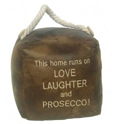 A Prosecco themed Faux Leather Square Doorstop