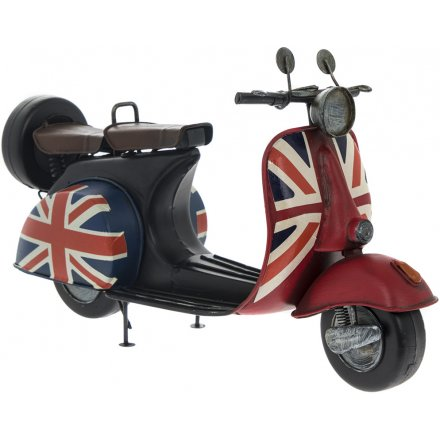 Vintage Red Scooter With Flag Decal
