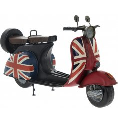 Union Jack decal and added rustic finishes build up this vintage inspired ornamental scooter