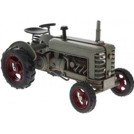 Rustic Grey Tractor Ornament