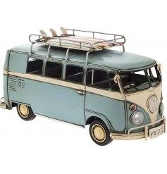 Set with its realistic features and distressed details, this metal blue campervan will look perfect in any study or she