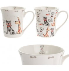 Add a friendly puppy touch to your coffee drinking with this sweet assortment of dog printed fine china mugs
