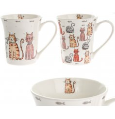 Add a friendly feline touch to your coffee drinking with this sweet assortment of cat printed fine china mugs