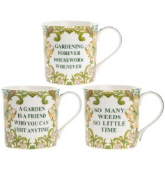 A beautiful assortment of Gardening themed mugs, each with different scripted quote about gardening