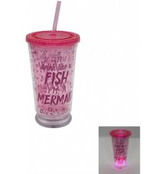 """Of course i drink like a fish... Im a mermaid!"" a comical script drinking cup in a pink tone"