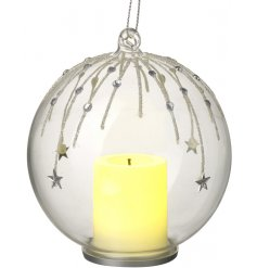 Illuminate your living spaces during the festive season with this beautiful hanging LED glass bauble,