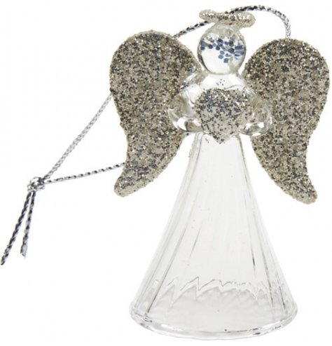 A dainty glass angel decoration with gold glitter wings, heart and halo. Complete with a silver string hanger.