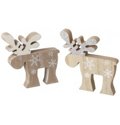 Bring a cozy rustic touch to your home space during the christmas season with this sweet assortment of wooden reindeer