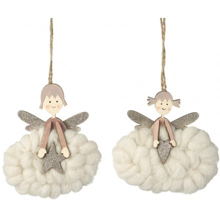Glittery Wooden Angel Decorations