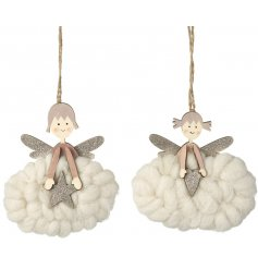 A sweet assortment of wooden angel hanging decorations, complete with fluffy clouds and glittery touches