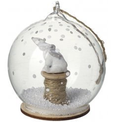 Add an adorable touch to any themed christmas tree with this delightfully posed polar bear in a glass bauble