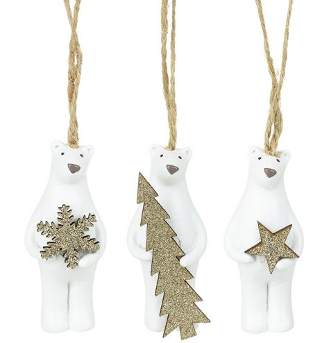 Adorable standing polar bear figures with gold glitter snowflake, tree and star decorations.
