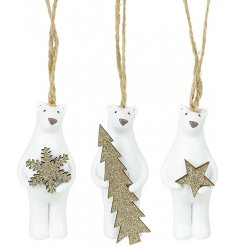 An adorable trio of hanging resin polar bears, each complete with their own glittery decoration