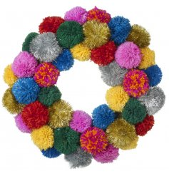 Switch up your traditional home decor this christmas with this absolutely fabulous themed pompom wreath