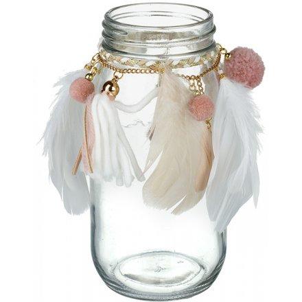 Boho Chic Glass Jar 17cm