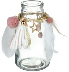 Bring a Pretty Pink tone to your christmas decor this season with this wonderfully finished decorative glass jar