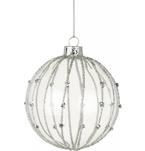 A chic glass bauble decorated with silver glitter and sequin stripes.