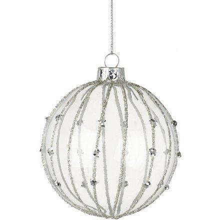 Glitter Striped Glass Bauble 8cm
