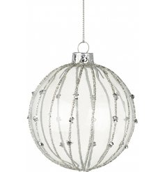 Hang this beautiful and glittery striped bauble onto any tree at christmas for a chic magical sparkle