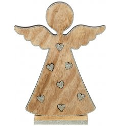 Bring home a magical glittery touch with this sweet and simple standing wooden decoration