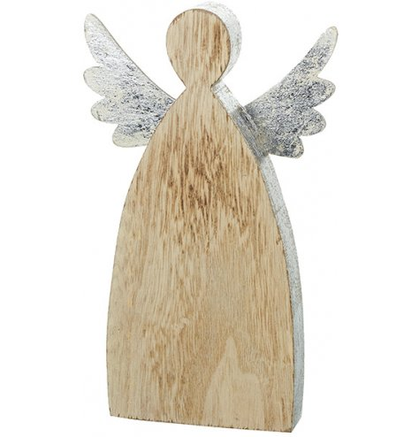 A chunky wooden angel figure with distressed silver metal wings and rustic painted silver edge.
