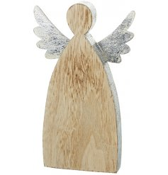 A smooth natural toned wooden block in an angel style, perfectly finished with a silvered edging and rustic metal wings