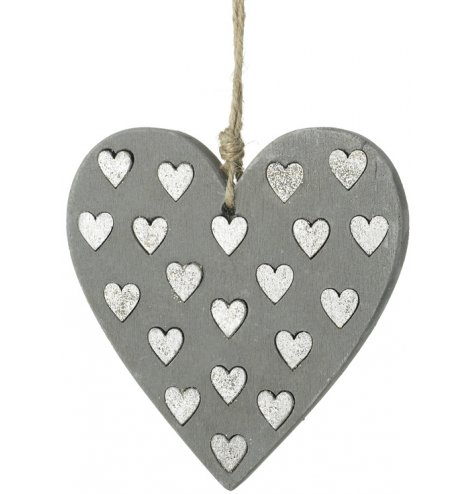 A contemporary concrete heart hanger with sparkling silver hearts. Complete with a rustic jute string hanger.