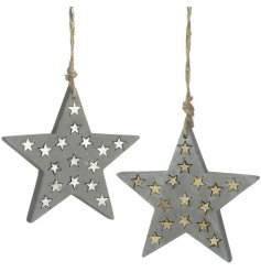 Add a rustic vibe to your christmas decor this season with this sleek assortment of hanging cement star decorations