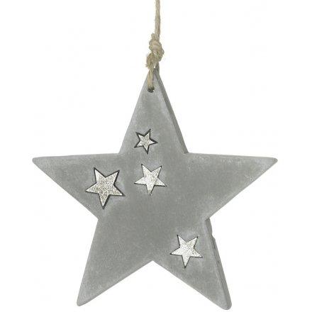 Hanging Concrete Star 12cm