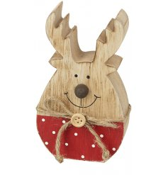 An adorable little wooden reindeer block, with added spotted bottoms for a festive touch