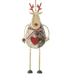 Add a sweet little rustic touch to your christmas tree with this hanging wooden reindeer decoration