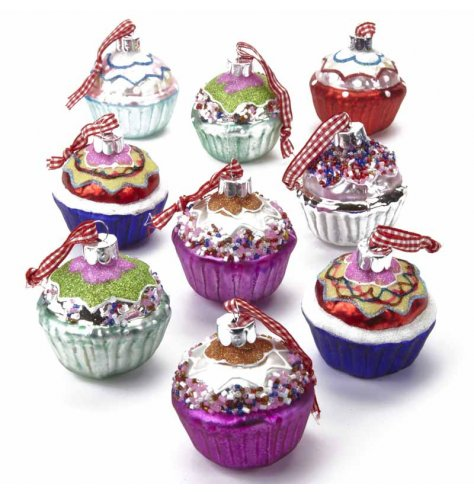 A set of 9 colourful and cute, highly decorated glass cupcake decorations with red gingham ribbon.