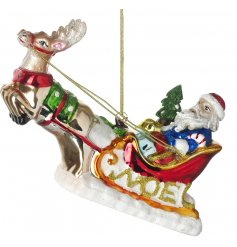 A traditional inspired hanging decoration, set with its assortment of colours and added glitter decal