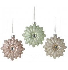 Add an elegant touch to your christmas decor with this chic assortment of coloured glass flower decorations
