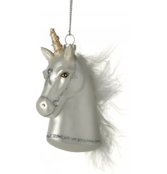 Add a mystical and magical touch to your christmas tree this year with this fabulous glass hanging unicorn decoration
