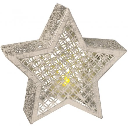 White-Washed Metal Cut Star Candle Holder 13cm