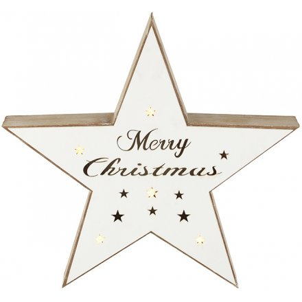 LED Merry Christmas Star Light Up 38cm