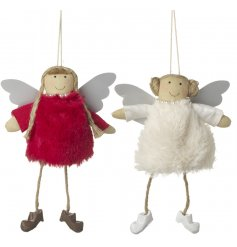 An adorable assortment of red and white themed fluffy dressed angel decorations