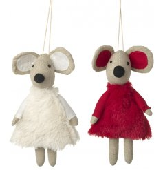 An adorable assortment of red and white themed fluffy dressed mice decorations